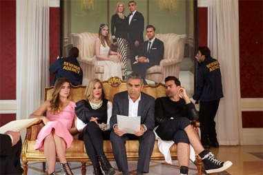 "Annie Murphy, Catherine O'Hara, Eugene Levy, and Dan Levy as the Rose family in ""Schitt's Creek"" (Photo from visitschittscreek.com)"