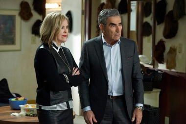 "Eugene Levy and Catherine O'Hara as Johnny and Moira Rose in ""Schitt's Creek"" (Photo from visitschittscreek.com)"